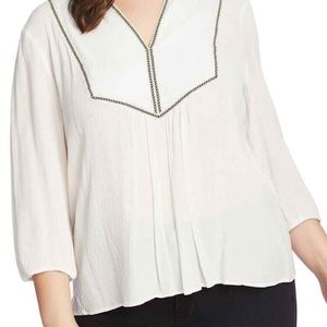1.State Split Neck Blouse Plus Size Soft Ecru 2X
